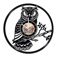 Night Owl Vinyl Record Wall Clock  Kids Room or Nursery Room wall decor  Gift ideas for children teens  Nature Unique Art Design >>> Visit the image link more details.