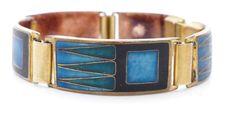 SCHIBENSKY vintage EMAILLE Email enamel Armband blau bracelet BUNGE Perli ära