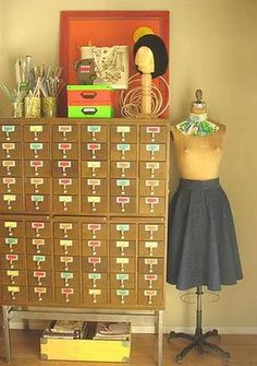 Googled beading craft room and came across this great idea for craft storage - library card catelogue