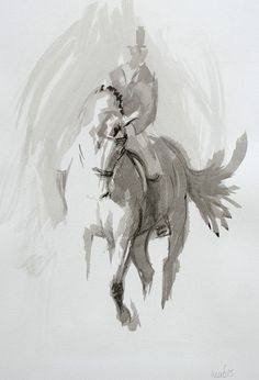Ink study III  Limited edition print on archival matte paper, from an original ink study of a dressage rider in the practise ring. By