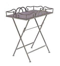 METAL TRAY TABLE IN WASHED GREY COLOR 55Χ38Χ64