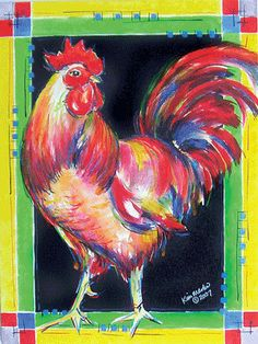 wedding picture on VisualizeUs - Bookmark pictures and videos that inspire you. Rooster Painting, Rooster Art, Animal Paintings, Animal Drawings, Art Drawings, Chicken Painting, Chicken Art, Canvas Art, Canvas Ideas
