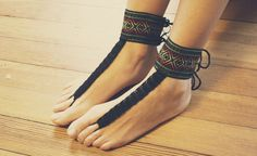 Beautiful Aztec Barefoot SandalsHippie by GoldenHandsDesign on etsy. I could totally make these! Thin ribbon of knit and I have the exact same ankle cuff fabric already! Such a great idea