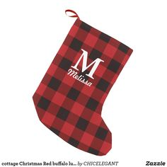 cottage Christmas Red and black buffalo plaid monogrammed Christmas Stocking