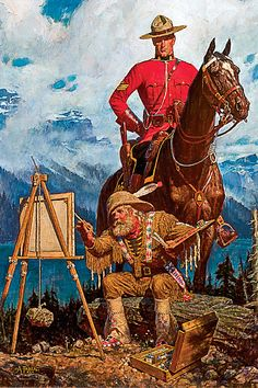 Arnold Friberg Lithograph Canadian Mountie Vintage Print