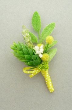 Boutonniere  Spring green and yellow by onehappygirl on Etsy, $15.00