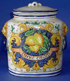 Oval Limoni Canditi Italian Ceramic Canister