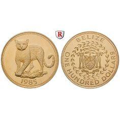 Belize, 100 Dollars 1985, 3,11 g fein, PP: 100 Dollars 3,11 g fein, 1985. Ozelot. Friedb. 17; GOLD, Polierte Platte, berührt 220,00€ #coins