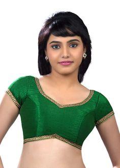 Classic Lace Border Green Sari Blouse SNT-X-203-SL