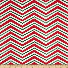 Christmas Basics Zig Zag Red from @fabricdotcom  Licensed to Springs Creative Products, this cotton print fabric is perfect for quilting, apparel, and home decor accents. Zigzag stripes run perpendicular to the selvage. Colors include white, red, and green.