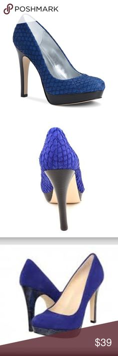 CALVIN KLEIN COBALT BLUE PLATFORM PUMPS The pattern and texture of these shoes are really gorgeous!! The true colour is closest to the cover photo. These shoes are in excellent condition. Heels, soles and uppers look new. Calvin Klein Shoes