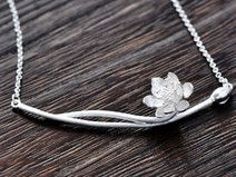 sterling silver necklace flower branch