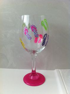 Hand Painted Flip Flop Wine Glass by delilahs82 on Etsy, $8.00