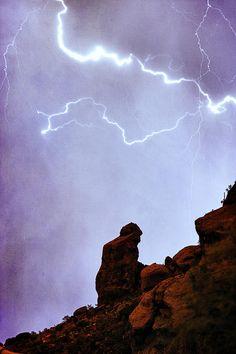 'Praying Monk' Lightning Storm - Camelback Mountain, Paradise Valley, Arizona