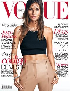 American fashion model Lily Aldridge is on the cover of Vogue Mexico July  2014 issue in Salvatore Ferragamo rag   bone top and pants. ab6a798c8cc6