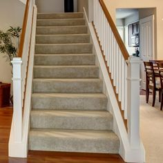Unfinished Pine Tread is crafted mainly for indoor usage. Constructed of pine and increases the value of your home. Pine Stair Treads, Bullnose Carpet Stair Treads, Wood Staircase, Stair Risers, Wooden Stairs, Staircase Design, Banisters, Stair Railing, Railings