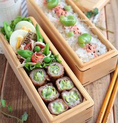 春色そら豆ご飯と生姜焼きロール弁当~パパのお弁当~