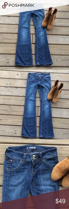 Hudson Mid Rise Jeans Hudson MidRise Boot Cut Jeans. They are a Medium Blue Wash.  They Are Nicely Broken In. The inseam is 30 in and the Waist is About 26in. They Have a Double Button Closure. Jeans That You Look Great In! Hudson Jeans Jeans Boot Cut
