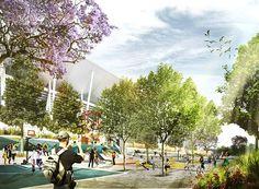 Winning design for New Western Sydney Stadium #ASPECT Studios #landscape architecture #concept #sydney #australia #perspective #plaza #jacaranda