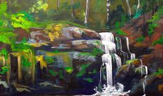 Beginner Wooded Waterfall Landscape Tutorial Acrylic
