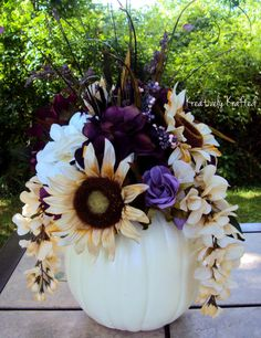White / Cream & Purple Plum Eggplant  Pumpkin Silk Flower Table Centerpiece Summer Autumn Fall Wedding Beautiful