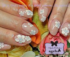 Nails by ageha 3d Nail Art, 3d Nails, Acrylic Nails, Flower Nail Designs, Cool Nail Designs, Flower Nails, Nail Flowers, Chic Nails, Acrylic Flowers