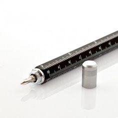 Der Tech Pen Multifunktions-Schreiber kombiniert folgende elementare Werkzeuge: Schraubenzieher, Lineal, Wasserwaage und Kugelschreiber.