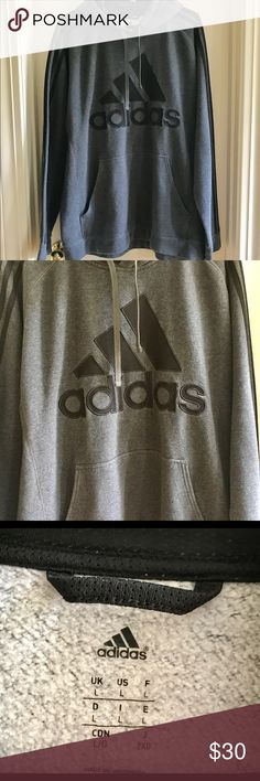 ⏸Adidas Hoodie Black on charcoal grey. Strips down each arm. Worn maybe three times! adidas Shirts Sweatshirts & Hoodies