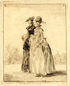 Sandby print; Two fashionably dressed ladies walking arm-in-arm to left, the nearest smiling towards the viewer, the other looking to left; with trees and a domed classical temple in the background. British Museum 1861,0413.28