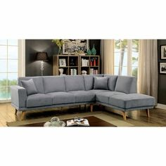 Furniture of America Hagen Grey Sectional Sofa Mid Century Sectional, Modular Sectional Sofa, Grey Sectional, Modern Sectional, Couches, Sectional Furniture, Small Sectional, Living Room Themes, Living Room Furniture