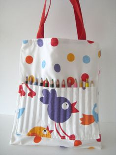 Make this bag with pencil holder part inside the bag for crochet hooks and yarn