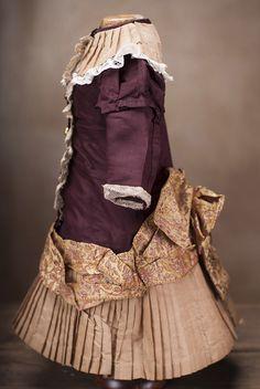 "Antique Original Silk dress for Jumeau Bru Steiner Eden Bebe doll about 19-20"""