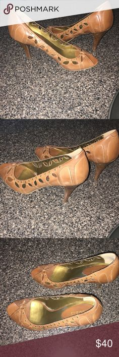 Guess Leather Heels These beautiful heels are in great condition. Normal wear but still in excellent shape. Size 10. Guess Shoes Heels