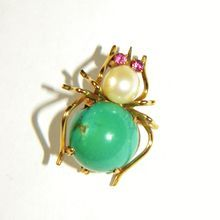 Vintage 14k YG Spider Pin Brooch, Turquoise, Cultured Pearl & Tourmaline