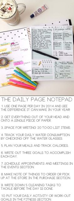 Organize your entire day on one sheet of paper with The Daily Page Notepad. Great for the New Year! (print off and add to filofax)