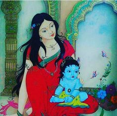 Yeshoda and Krishna Yashoda Krishna, Bal Krishna, Krishna Leela, Jai Shree Krishna, Krishna Art, Krishna Images, Radhe Krishna, Lord Krishna, Little Krishna