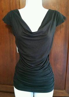 Michael Kors XS Black Stretch Drape Neck Cap Sleeves with Side Ruching Top #MichaelKors #DrapeNeckSideRuching #Clubwear