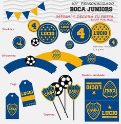 Kit Cumple Imprimible Boca Juniors + Candy Bar - $ 320,00 en Mercado Libre Mini Tortillas, Candy, Stickers, Tags, Crochet, Ideas, Cake, Free Printable Labels, Red Bathroom Decor