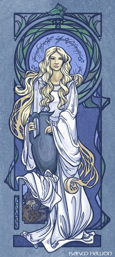 *beautiful art-deco ill.of Galadriel* Lord of The Rings