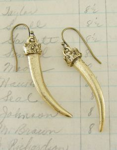 Earrings Daggers  Vintage Brass Earrings  by chloesvintagejewelry, $24.00