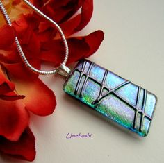Teal Blue Dichroic Fused Glass
