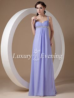 Maxi Lavender Long Chiffon Sweetheart Sleeveless Empire Evening Dress - US$ 108.99 - Style E0554 - Luxury Evening