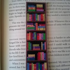 Pattern for Bookshelf Bookmark Cross Stitched For anyone wanting to make a Bookshelf Bookmark for themselves! It's a pretty simple and fun cross stitch project. The pattern includes a jpeg chart/graph and notes on materials used. The colors ar Cross Stitching, Cross Stitch Embroidery, Embroidery Patterns, Hand Embroidery, Beading Patterns, Knitting Patterns, Cross Stitch Fabric, Knitting Tutorials, Machine Embroidery