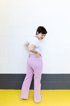 Tilly's pink Jessa Jeans - Sewing Pattern by Tilly and the Buttons