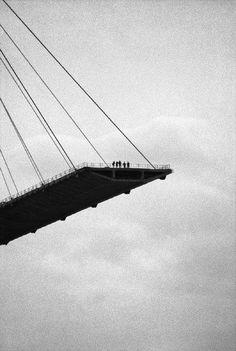 Construction of the Pont de Normandie, Le Havre, 1993, photo by Jean Gaumy