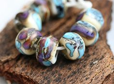 Glass Lampwork beads - Blue, Purple, Beige - handmade organic shaped SRA set, by MayaHoney on Etsy, $19.50