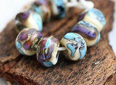 Glass Lampwork beads  Blue Purple Beige  handmade by MayaHoney, $19.00