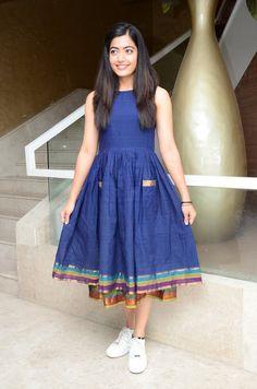 Actress Rashmika Mandanna At Dear Comrade Movie Launch Indian Gowns Dresses, Indian Fashion Dresses, Indian Designer Outfits, Indian Dresses For Women, Dresses Dresses, Indian Girls, Kalamkari Dresses, Ikkat Dresses, Girls Frock Design