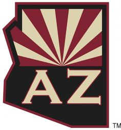 Arizona Coyotes Alternate Logo - State of Arizona map with half of the state flag in the upper half of the map recoloured to match those of the Arizona Coyotes. Below the flag is the state abbreviation of AZ in a Copperplate-esque style font. Flyers Hockey, Hockey Logos, Ice Hockey Teams, Nhl Logos, Sports Logos, Arizona Flag, Arizona Cardinals Logo, Arizona State, Coyotes Hockey