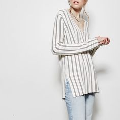 Theory Luxe Knit Stripe V-Neck Sweater